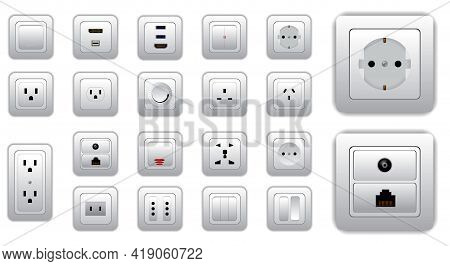 Set Of Socket And Switch Electrical Or Realistic Electrical Plug And Switch Or Computer Connectors S