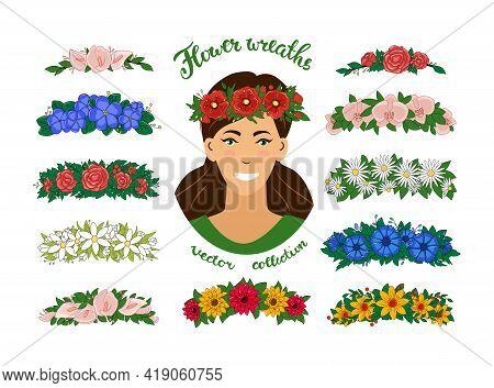 A Girl In A Flower Wreath. A Set Of Floral Tiaras. Vector Elegant Beautiful Young Woman Portrait. Is