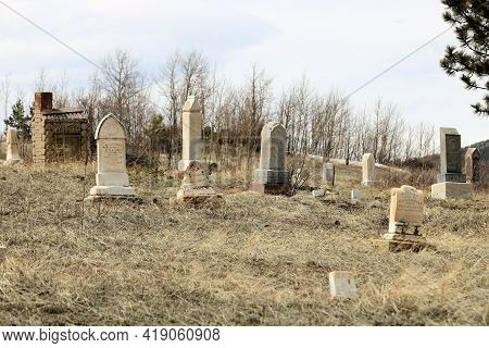 April 25, 2021 In Central City, Co:  Vintage Headstones On Grave Sites Taken At The Central City, Co