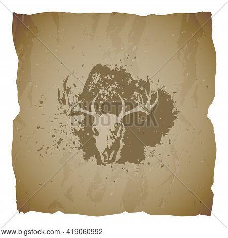 Vector Illustration Of Hand Drawn Skull Deer And Grunge Elements On Old Torn Edges Background. Textu