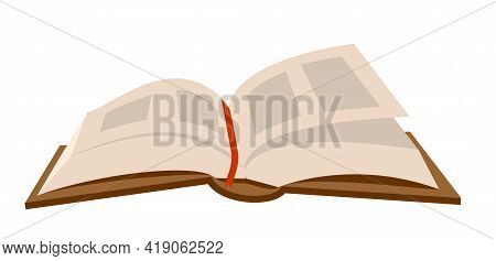 Open Book. Teachers Day. Retro Open Book Isolated On White Background. Cartoon Vector Illustration.