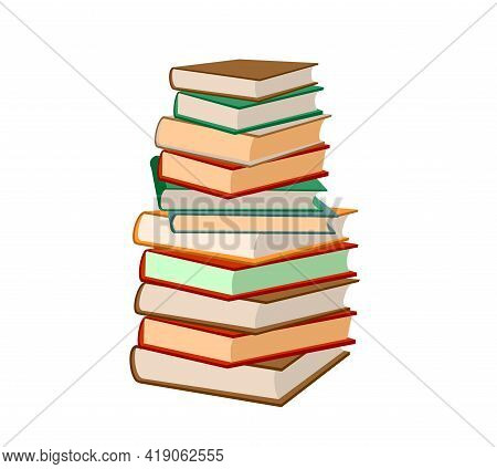 Stack Of Books On A White Background. Pile Of Books Vector Illustration. Icon Stack Of Books In Flat