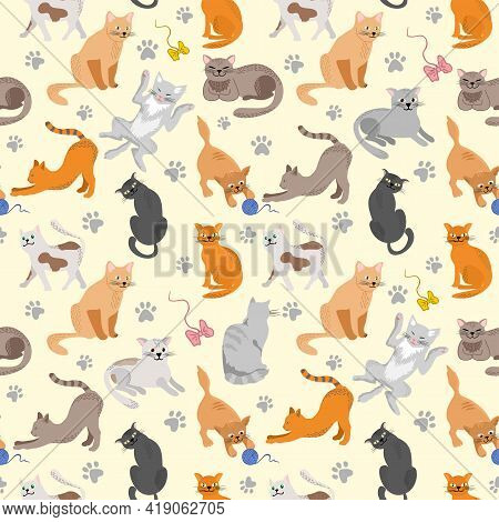 Kitty Seamless Pattern. Different Cat Breeds Flat Illustration. Color Cute Cats Background, Colorful