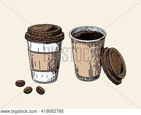 Take-out Coffee Cup And Beans. Plastic Cup Of Coffee. Coffee To Go Cup With A Lid. Coffee Take Away