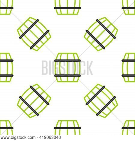 Line Wooden Barrel Icon Isolated Seamless Pattern On White Background. Alcohol Barrel, Drink Contain