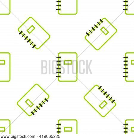 Line Notebook Icon Isolated Seamless Pattern On White Background. Spiral Notepad Icon. School Notebo