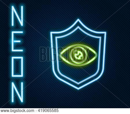 Glowing Neon Line Shield Eye Scan Icon Isolated On Black Background. Scanning Eye. Security Check Sy