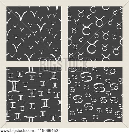 Patterns With White Zodiac Signs On Black Background. Four Horoscope Symbols: Aries, Bull, Gemini, C