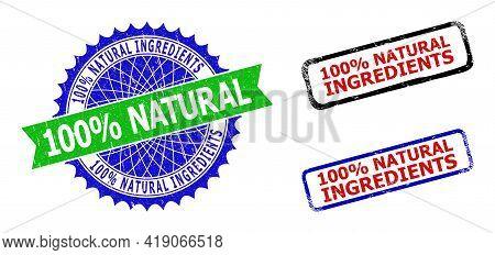 Bicolor 100 Percents Natural Ingredients Seal Stamps. Green And Blue 100 Percents Natural Ingredient