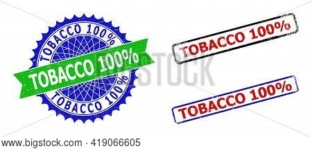 Bicolor Tobacco 100 Percents Seal Stamps. Blue And Green Tobacco 100 Percents Seal Stamp With Sharp