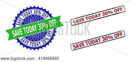 Bicolor Save Today 30 Percents Off Stamps. Blue And Green Save Today 30 Percents Off Badge With Shar