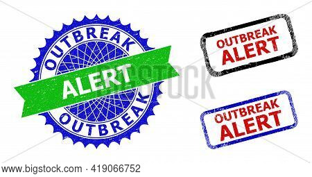 Bicolor Outbreak Alert Watermarks. Green And Blue Outbreak Alert Badge With Sharp Rosette And Ribbon