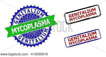 Bicolor Genitalium Mycoplasma Badges. Green And Blue Genitalium Mycoplasma Badge With Sharp Rosette