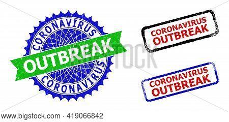 Bicolor Coronavirus Outbreak Seal Stamps. Green And Blue Coronavirus Outbreak Seal Stamp With Sharp