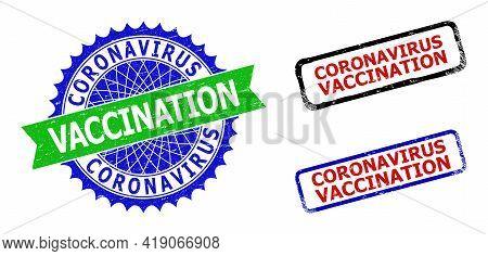 Bicolor Coronavirus Vaccination Watermarks. Blue And Green Coronavirus Vaccination Watermark With Sh