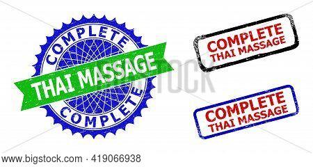 Bicolor Complete Thai Massage Seal Stamps. Blue And Green Complete Thai Massage Badge With Sharp Ros