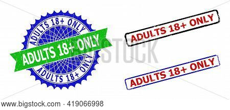 Bicolor Adults 18 Plus Only Seal Stamps. Blue And Green Adults 18 Plus Only Watermark With Sharp Ros