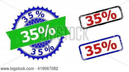 Bicolor 35 Percents Stamps. Green And Blue 35 Percents Badge With Sharp Rosette And Ribbon Design El