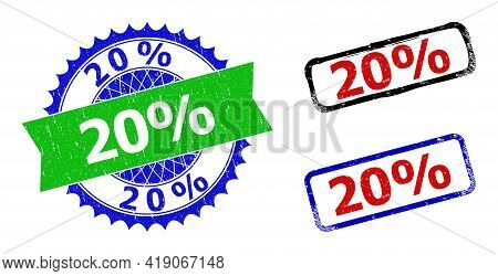 Bicolor 20 Percents Stamps. Green And Blue 20 Percents Badge With Sharp Rosette And Ribbon Design El