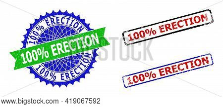 Bicolor 100 Percents Erection Watermarks. Blue And Green 100 Percents Erection Seal Stamp With Sharp