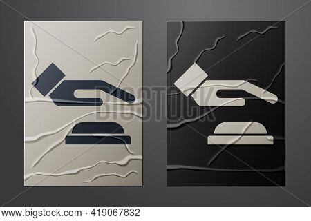 White Palm Print Recognition Icon Isolated On Crumpled Paper Background. Biometric Hand Scan. Finger
