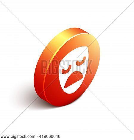 Isometric Drama Theatrical Mask Icon Isolated On White Background. Orange Circle Button. Vector