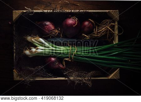 Bunch of fresh spring onions placed in a wooden crate along with purple onions. Cultivated organic onions placed in a wooden box, shot from above angle.