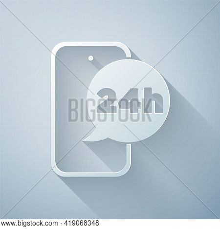 Paper Cut Food Ordering Icon Isolated On Grey Background. Order By Mobile Phone. Restaurant Food Del