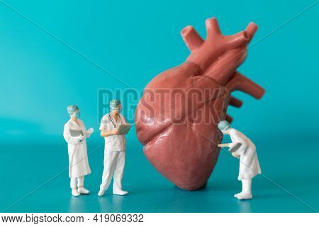 Miniature People Doctor And Nurse Observing And Discussing About Human Heart , Science And Medical C