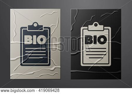 White Document For Bio Green Healthy Food Icon Isolated On Crumpled Paper Background. Organic Produc