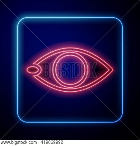 Glowing Neon Blindness Icon Isolated On Blue Background. Blind Sign. Vector
