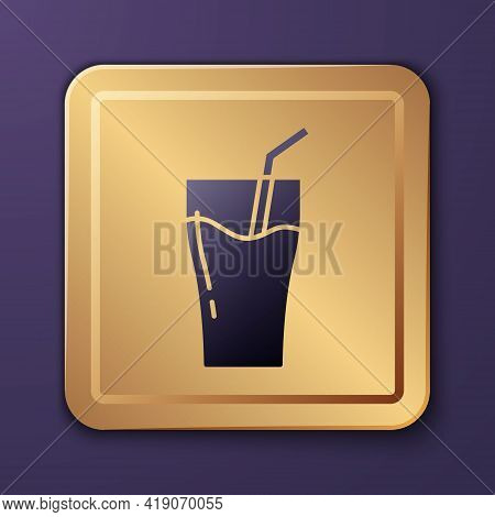 Purple Glass Of Juice Icon Isolated On Purple Background. Tube For Drinking. Healthy Organic Food. C