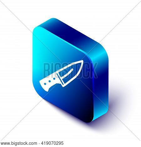 Isometric Meat Chopper Icon Isolated On White Background. Butcher Knife. Kitchen Knife For Meat. But