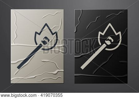 White Burning Match With Fire Icon Isolated On Crumpled Paper Background. Match With Fire. Matches S