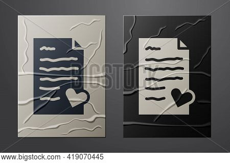 White Envelope With Valentine Heart Icon Isolated On Crumpled Paper Background. Message Love. Letter