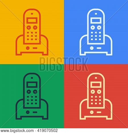 Pop Art Line Telephone Icon Isolated On Color Background. Landline Phone. Vector Illustration
