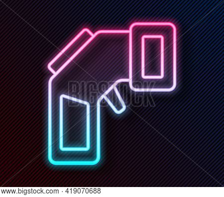Glowing Neon Line Digital Contactless Thermometer With Infrared Light Icon Isolated On Black Backgro
