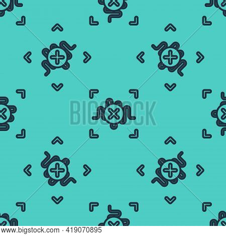 Black Line Rejection Voice Recognition Icon Isolated Seamless Pattern On Green Background. Voice Bio