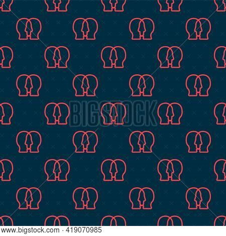 Red Line Bipolar Disorder Icon Isolated Seamless Pattern On Black Background. Vector