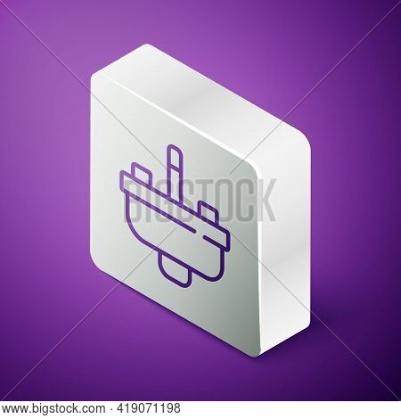 Isometric Line Washbasin With Water Tap Icon Isolated On Purple Background. Silver Square Button. Ve