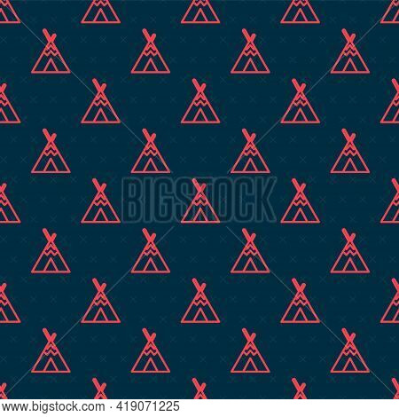 Red Line Traditional Indian Teepee Or Wigwam Icon Isolated Seamless Pattern On Black Background. Ind