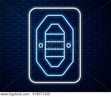 Glowing Neon Line Rafting Boat Icon Isolated On Brick Wall Background. Inflatable Boat With Paddles.