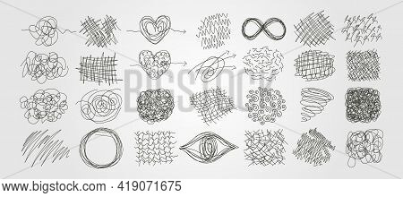 Set Of Chaotic Scribble Line Art Vector Abstract Illustration Design, Freehand Scribble Art Backgrou