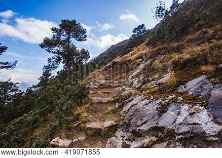 Trail Uphill. Himalayas Mountains, Nepal, Sagarmatha National Park