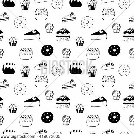 Seamless Pattern Cakes Cupcakes Cheesecakes Donuts And Cakes Vector Illustration Hand Drawn Doodle