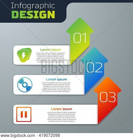 Set Guitar Pick, Cd Or Dvd Disk And Pause Button. Business Infographic Template. Vector