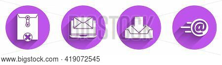 Set Delete Envelope, Laptop With Envelope, Download Inbox And Mail And E-mail Icon With Long Shadow.