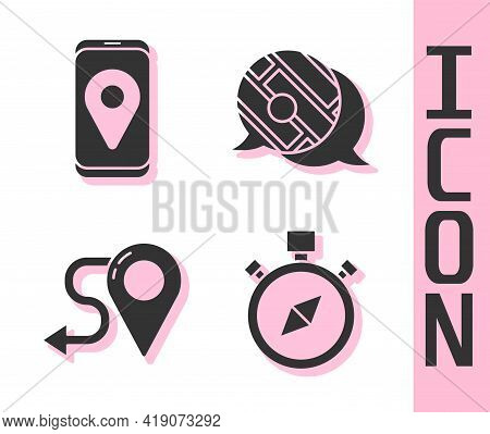 Set Compass, City Map Navigation, Route Location And Infographic Of City Map Navigation Icon. Vector
