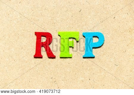 Color Cloth Alphabet Letter In Word Rfp (abbreviation Of Request For Proposal) On Wood Background