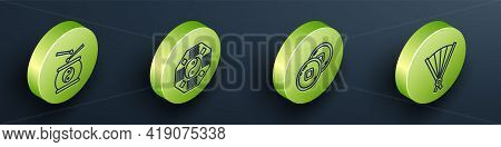 Set Isometric Chinese Drum, Yin Yang, Chinese Yuan Currency And Paper Chinese Folding Fan Icon. Vect
